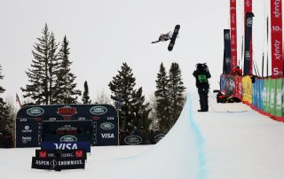 Chloe Kim competes at Aspen